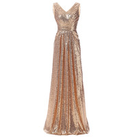 W.JOLI Long V Neck Evening Dress Glitter Sequined Bride Banquet Floor length Pleat Strapless Prom Gown Wedding Party Dresses