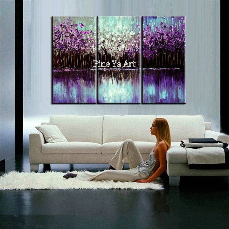Abstract modern Purple tree 3 piece canvas wall art font b Knife b font acrylic oil