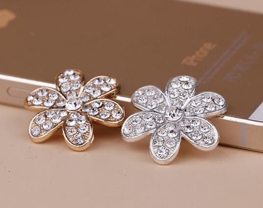 wholesale100pcs Alloy flower Flat Back Rhinestone button c13d0557cd8a