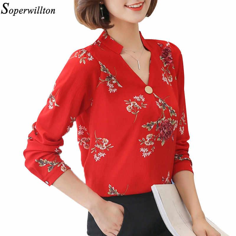 d6e2ef8b2c99 Blusa de las señoras de oficina camisa elegante de gasa de Mujer Tops y  Blusas otoño 2018 Otoño de manga larga con cuello en V de flores Blusas  Mujer ...