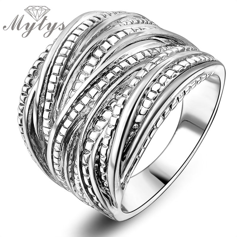 Mytys 2017 Fashion Ring Retro Line Twine Design Wide Surface Ring Popular Design Jewelry For Women R1040