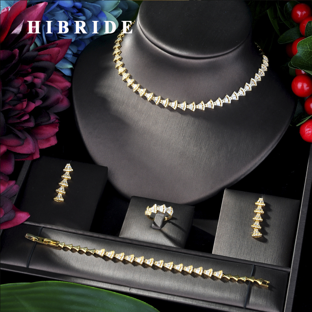HIBRIDE Luxury Sparking Pave AAA Cubic Zircon Classic 4pcs Jewelry Set Wedding Bridal Sets for Women