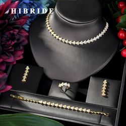 Женский классический набор ювелирных изделий hibrid, сверкающий фианит ААА, 4 шт., наборы свадебных украшений для женщин, bijoux femmel, N-04