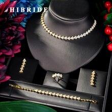 HIBRIDE الفاخرة شرارة تمهيد AAA مكعب الزركون الكلاسيكية 4 قطعة مجموعة مجوهرات الزفاف مجموعات الزفاف للنساء بيجو فيميل N 04