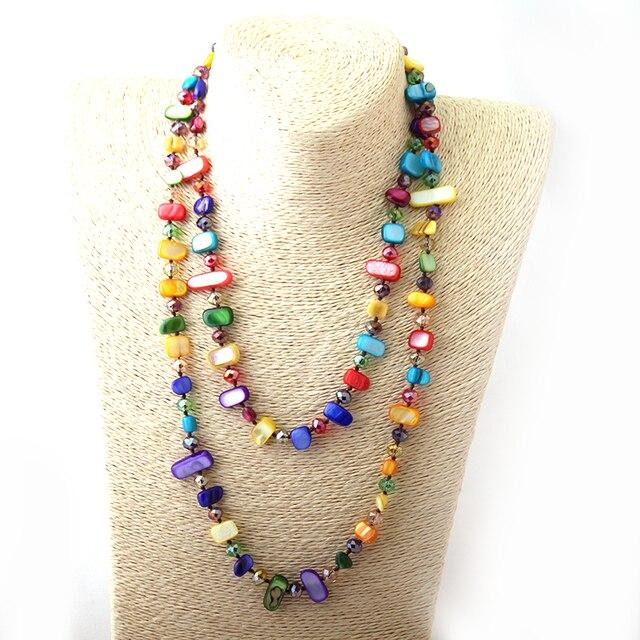Frete Grátis Fashio Longo Atada Halsband Rainbow Color Cristal e Colar de Concha