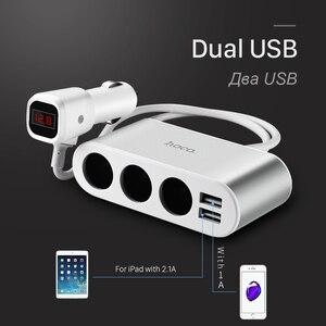 Image 4 - Chargeur de voiture HOCO 3 prises allume cigare répartiteur dadaptateur 2 USB chargeur de voiture avec affichage numérique voltmètre téléphones mobiles