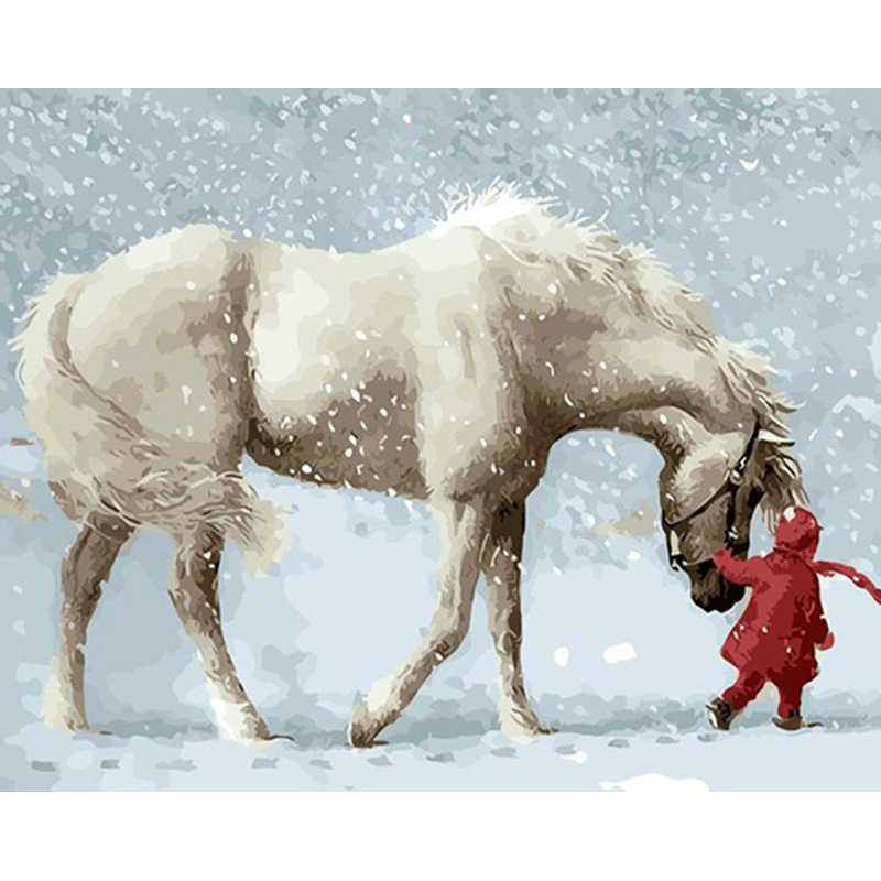 Weiß Pferd In Schnee Tier DIY Digitale Malerei Durch Zahlen Moderne Wand Kunst Leinwand Malerei Geschenk für kinder Home Decor 40x50cm