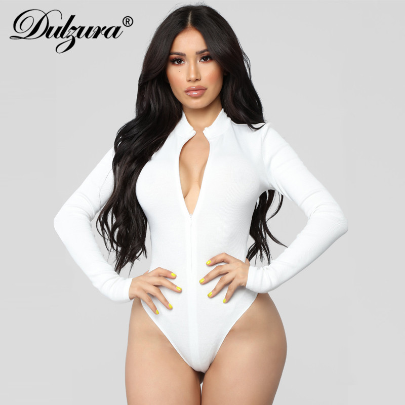 Dulzura Front Zipper Long Sleeve Women Sexy Bodysuit 2018 Autumn Winter Black White Solid Skniny Streetwear Body