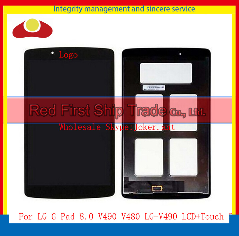 10Pcs DHL EMS For LG G Pad 8.0 V490 V480 LG-V490 Full LCD Touch Screen Digitizer With Display LCD Assembly Complete Black 10pcs for s6 edge lcd display touch screen digitizer assembly for samsung s 6white free dhl shipping