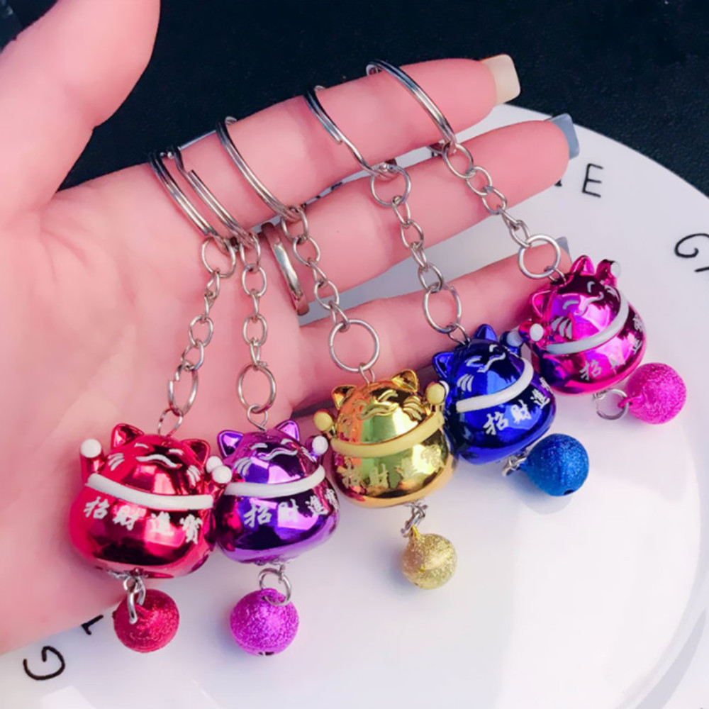 2019 New Cartoon Wealth Lucky Cat Maneki Key Ring Key Ring With Bell Car Bag Key Ring A Variety Of Colors Optional