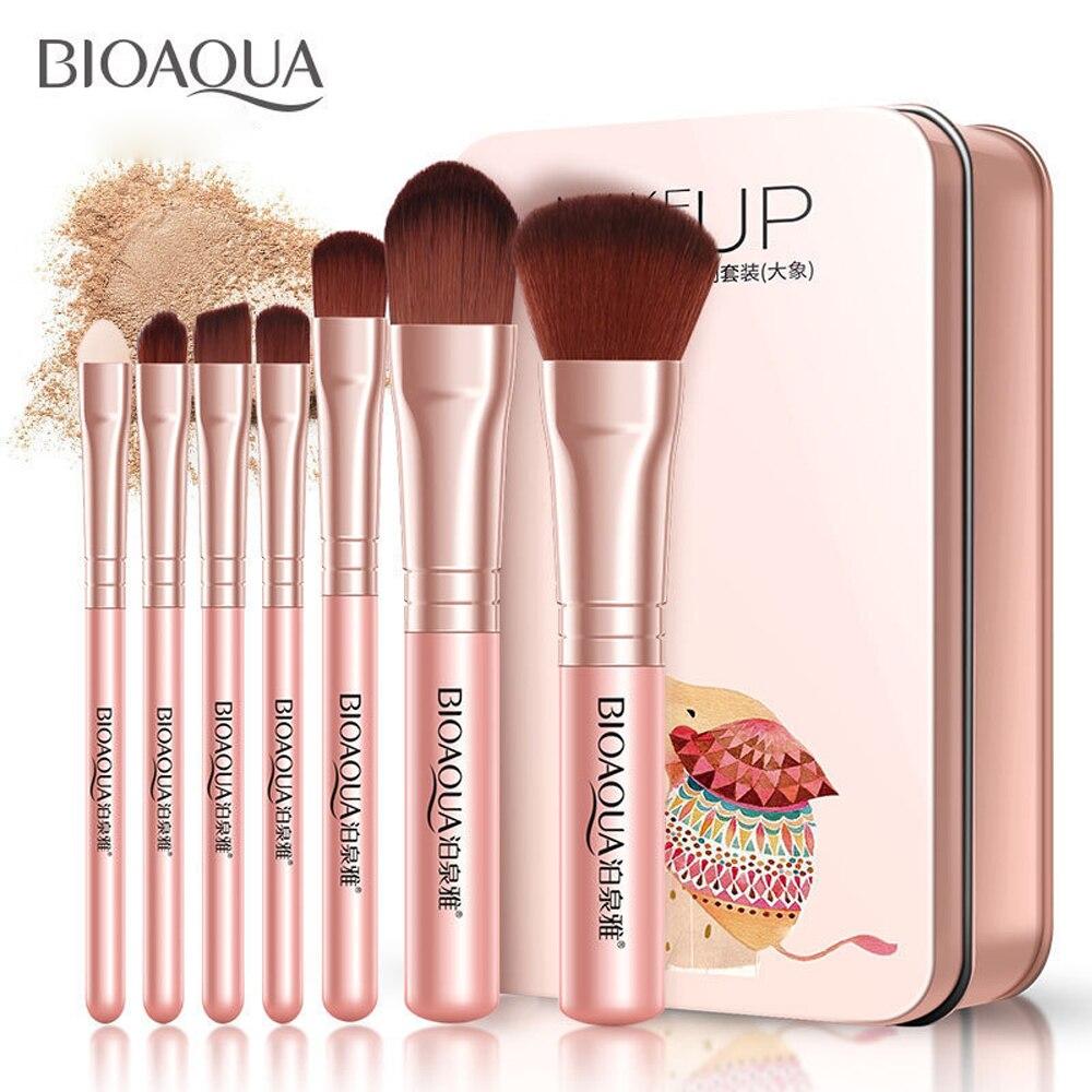 BIOAQUA Soft Synthetic Hair Makeup Brush Kit 7pcs MakeupTools Black Leather Case Cosmetic Beauty Foundation Make Up Brushes