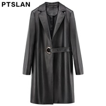Ptslan 2017 Women's  Real  Leather Jackets With Belt Ladies Casual Elegant Clothing Solid Color Long Sleeve Trench Coat
