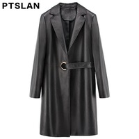 Ptslan 2017 Women's Real Leather Jackets With Belt Ladies Casual Elegant Clothing Solid Color Long Sleeve Trench Coat P2749