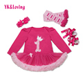 Retail Baby Girls 4pcs Sets Long Sleeve Cotton Rromper Rose Red Ruffle TUTU Dress Baby Clothing Vestidos 1 Birthday Dress