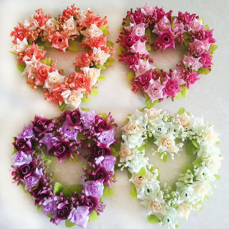 Decorative Heart Shaped Garland Silk Rose Hanging Wreath Home Party Decor