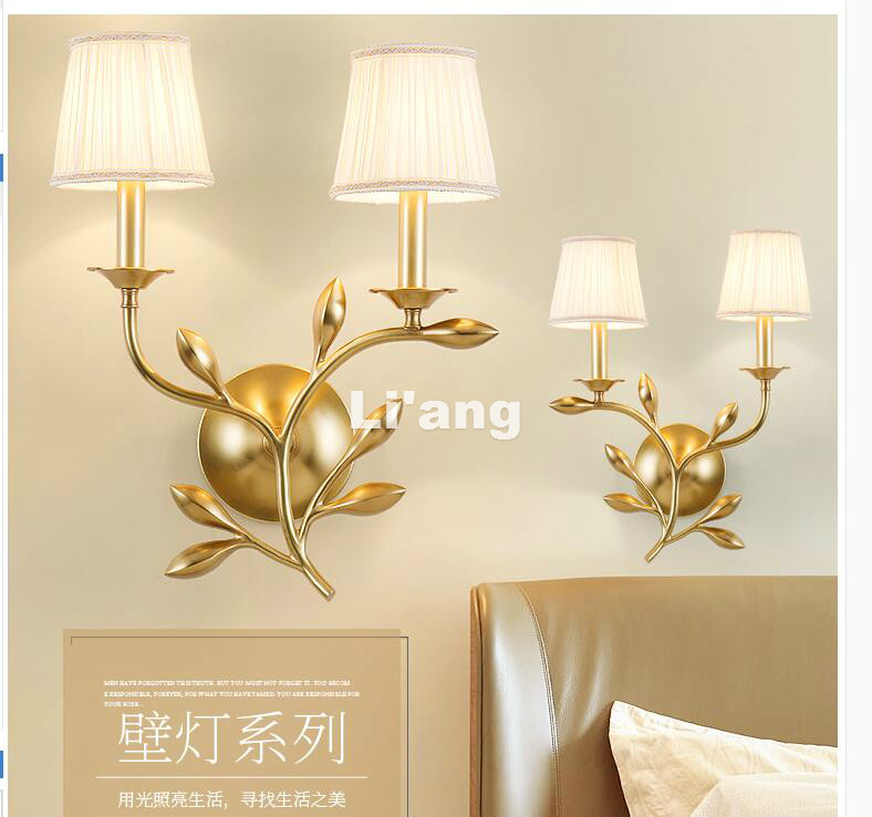 Free Shipping Nordic America Copper Wall Lamp E14 3W LED Lamp Brass Wall Lamp Fashion Bedroom Living Room Warm Decorate Light bjornled america wall sconce copper wall lamp 2 arm fabric shade light living room restaurant cafe bedroom hotel e14 led lamp