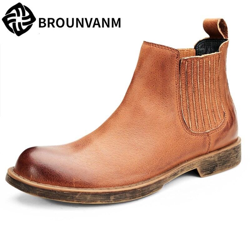 mens Chelsea boots all-match cowhide Martin boots British fashion all-match cowhide autumn winter British retro desert boots men