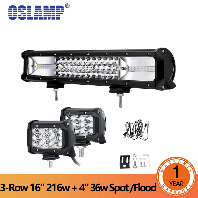 Oslamp 3-row 16inch 216W LED Light Bar Offroad Led Bar Combo Beam+2x36W Spot Flood Led Work Lights Truck SUV ATV 4x4 4WD