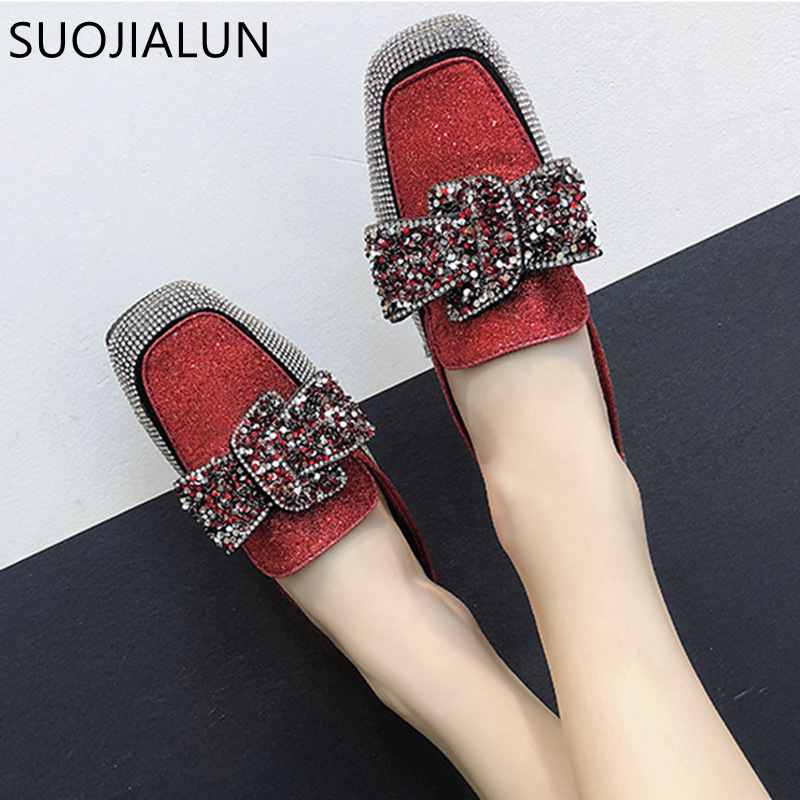 SUOJIALUN Fashion Women Crystal Slippers Low Square Heel Mules Summer Slippers Slides Flip Flops Sandals Women Flat Shoes xiaying smile summer woman sandals square heel women slippers slides shoes women pumps fashion casual bling crystal women shoes