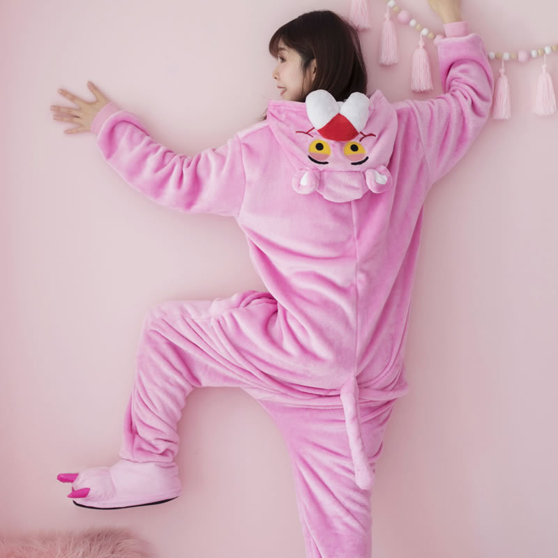Pink Panther Pajamas Sets Winter Onesies For Adults Cartoon Animal Plush Homewear Students Long Sleeve Flannel Cosplay Sleepwear