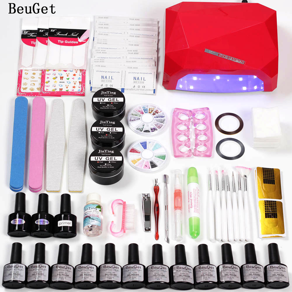 Nail Manicure Set Dryer Lamp 36w UV Led Lamp Nail Set 12 Color UV Gel Nail Polish Tools Set Gel Nail Art Kit Base and Top Primer full uv gel nail art nail polish 36w nail uv lamp dryer tools eu plug set
