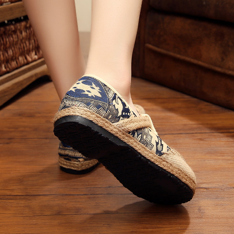 New round head cotton and linen national wind shoes summer pedal linen shoes breathable fashion lazy flat shoes fashion anchor printed square new composite linen blend pillow case