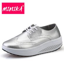 MINIKA Women Thick Bottom Casual Shoes Fashion Leather Waterproof Flat Shoes Non-slip Lace-up Shoes Sliver Black Large Size Shoe