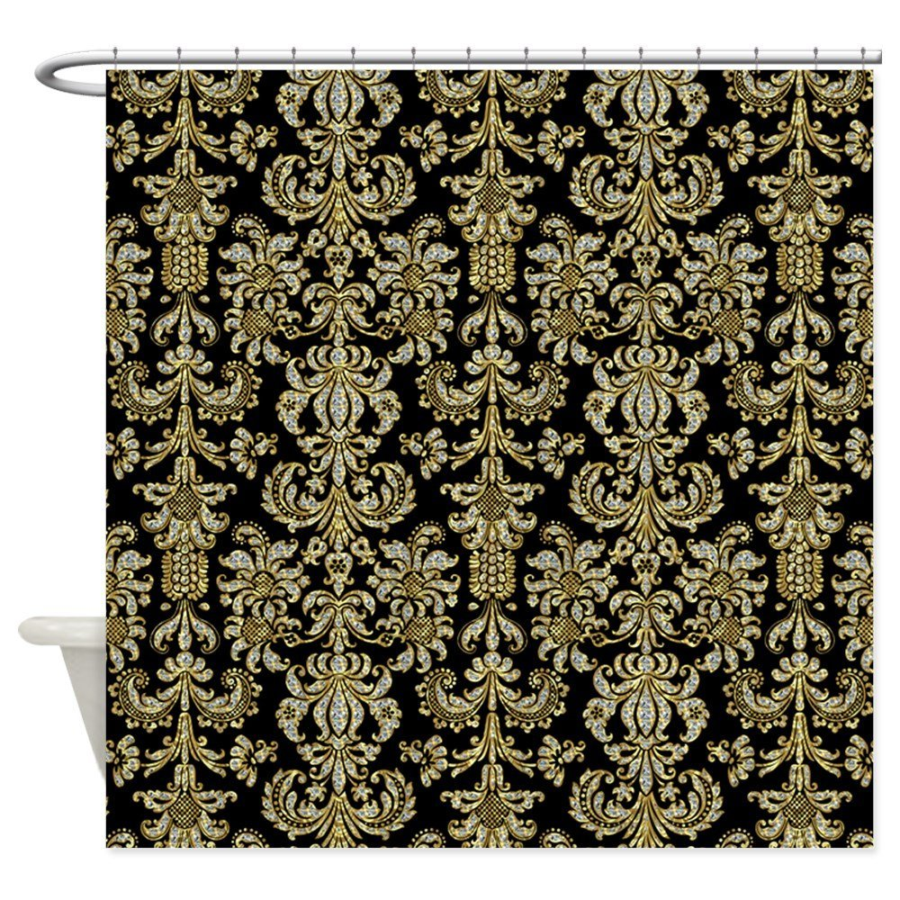 Gold Diamonds Damasks Pattern Over Black Shower Cu Decorative Fabric Shower Curtain For The Bathroom With 12 Hooks