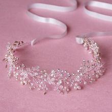 Luxury Tiara Silver Pearl Headbands Crystal Hair Jewelry Headpiece Wedding Hair Accessories Bridal Head Chain Hair Jewelry