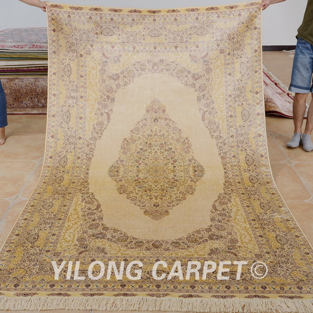 33bd0b550 ⊱ييلونغ 5'x8 '[هرك] الحرير السجاد البيج الفضل اليد معقود التقليدية ...