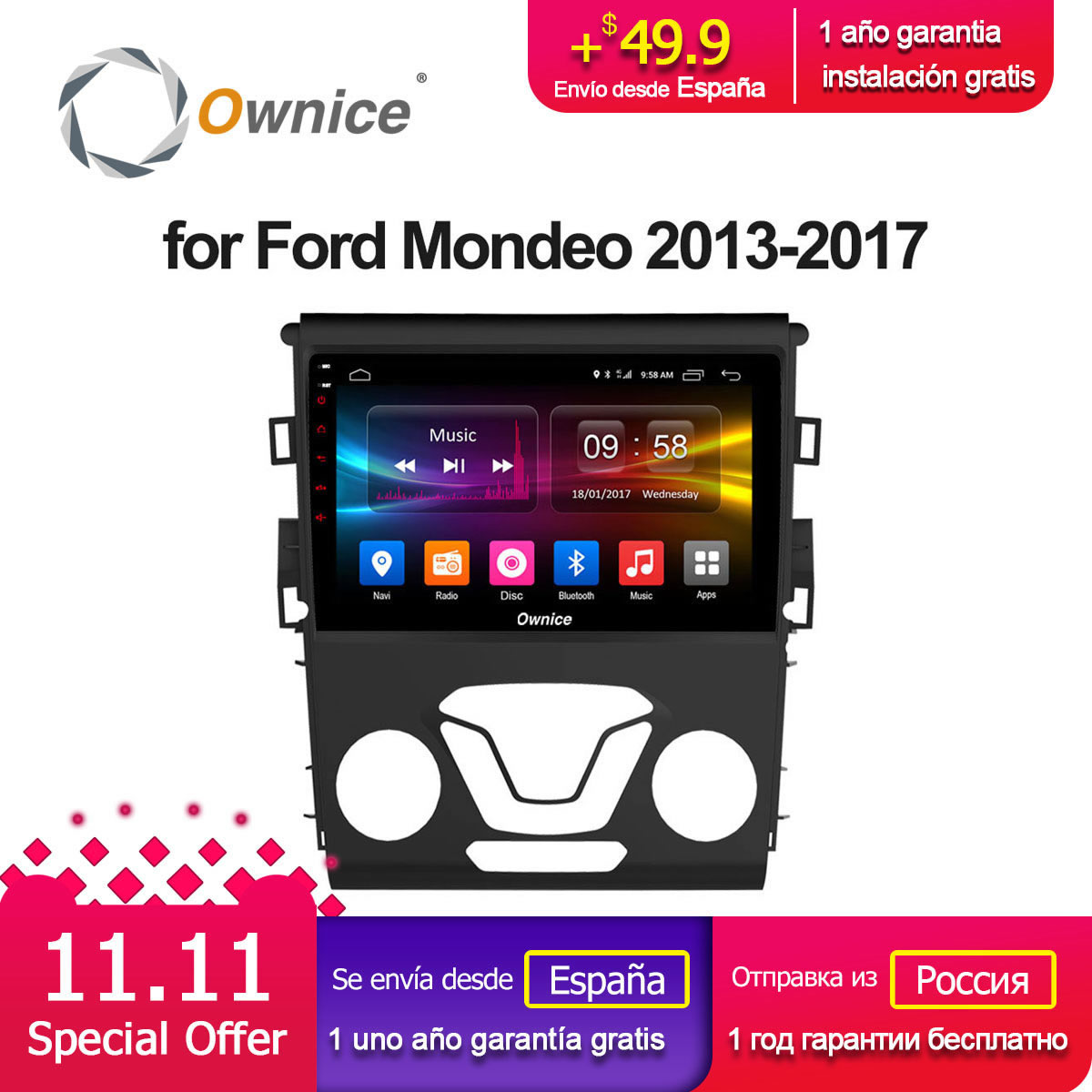 Ownice C500+ G10 Octa core Android 8.1 2GB + 32G CAR GPS DVD player FOR FORD MONDEO 2013 - 2017 car audio stereo Multimedia GPS ownice c500 4g sim lte octa 8 core android 6 0 for kia ceed 2013 2015 car dvd player gps navi radio wifi 4g bt 2gb ram 32g rom