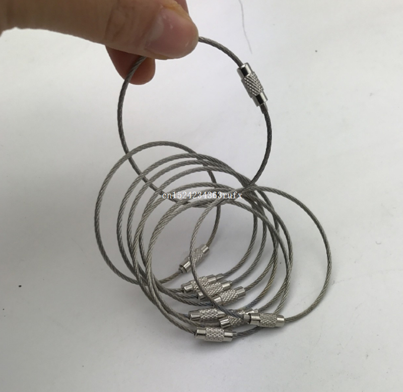 1000 pcs Wire Rope Key Chain Stainless Steel Wire Keychain Outdoor Hiking Carabiner Cable Key Ring