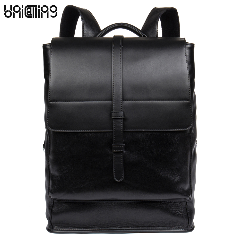 UniCalling men leather backpack genuine leather men casual travel backpack men business laptop computer real leather backpack men backpack leather fashion real cow leather backpack for men leisure men genuine leather 14 laptop backpack safe back zipper
