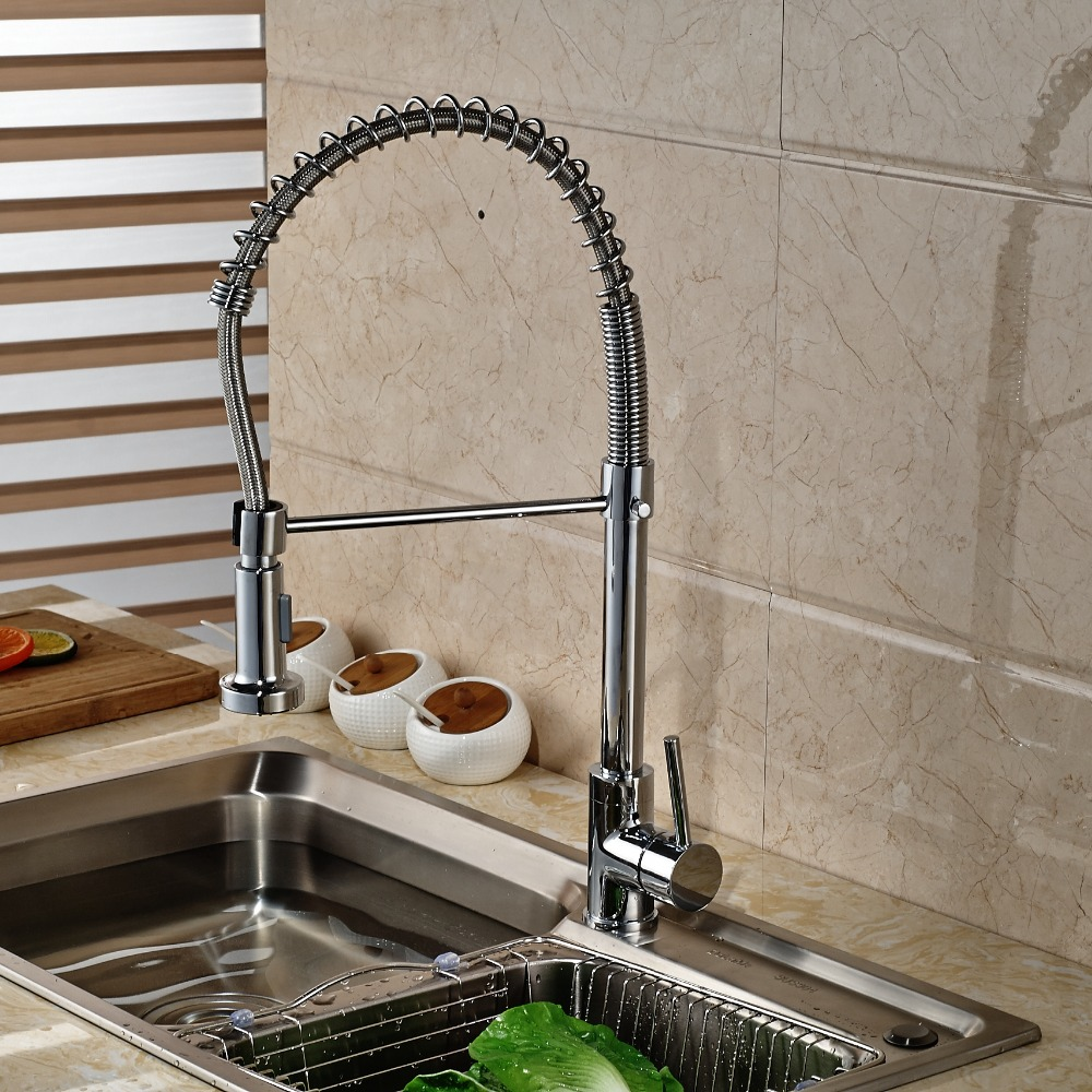 Wholesale And Retail Luxury Chrome Brass Spring Kitchen Faucet Single Handle Hole Vanity Sink Mixer Tap Hot And Cold Tap wholdsale and retail luxury brass