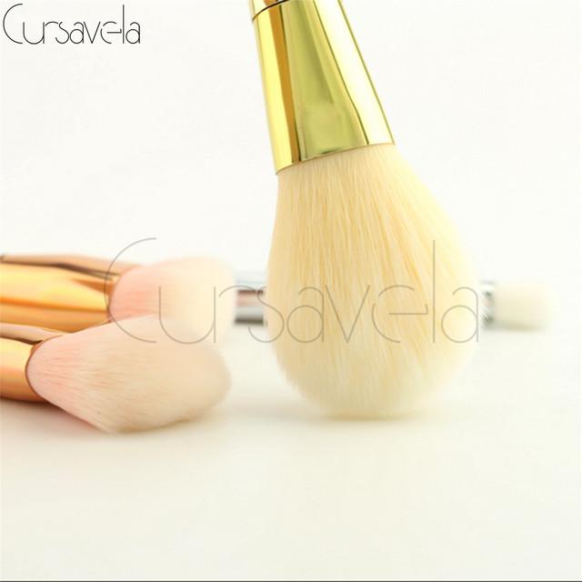 Cepillo del maquillaje Fijó 7 Unids Profesional Rosa de Oro maquillaje Pinceles Csometic Powder Foundation Blush Delineador de Ojos Cepillos maquiagem