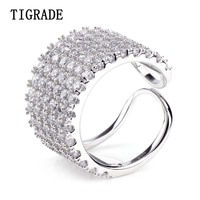 TIGRADE Fashion Brand Cubic Zirconia Sterling Silver Rings For Women Eternity Wedding Band Lady Jewelry Female