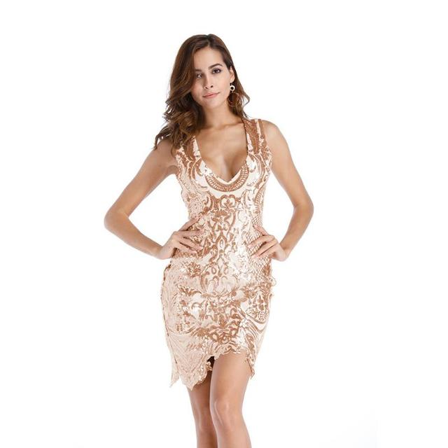 Female Sequins Backless Summer Dress Party Gown Sequined tank sleeve V-neck  irregular hem sequin dresses Slim Sexy new champagne 8463901cb292