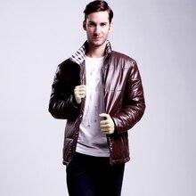 Высокое качество нового мужская куртка досуг Пальто теплые Мужчины Модный Бренд нравственность Мужские куртки легкий высокой плотности волокна