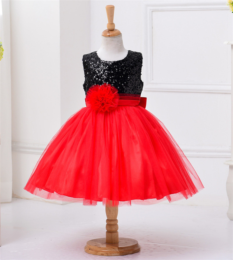 Red Flower Princess Wedding Dress Girl Sequin Tulle Dresses Children Clothing Ball Gown Girls Clothes Kids Party Dresses Summer sequin prom evening gown flower girls dress girls wedding party wear clothing children kids dresses for girl clothes tutu dress