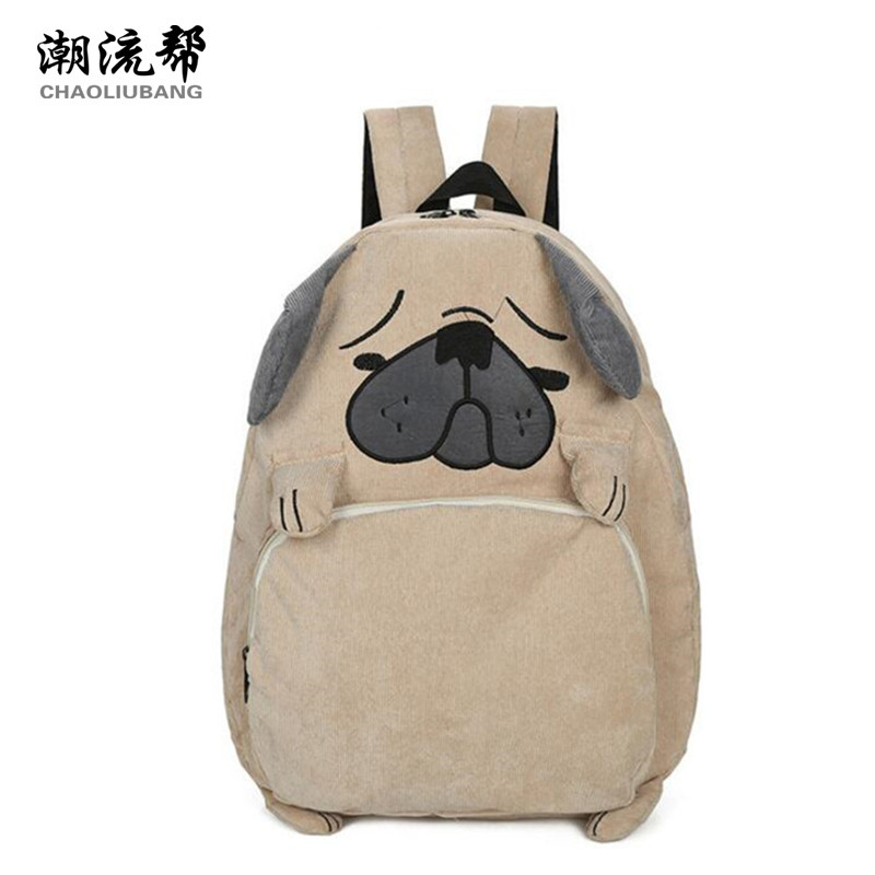 CHAOLIUBANG Japanese cute cartoon animals backpack funny dog backpacks for teenage girls larger capacity corduroy travel