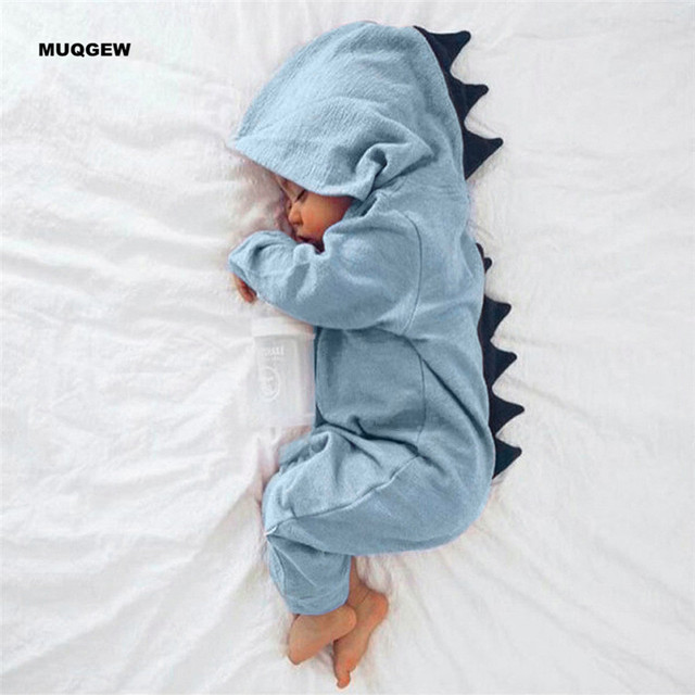 b22ba431e1 US $9.0 18% OFF|Lovely Cute Dinosaur Hooded Romper for Newborn Infant Baby  Boy Girl Long Sleeve Comfortable Rompers Jumpsuit Outfits Clothes-in ...