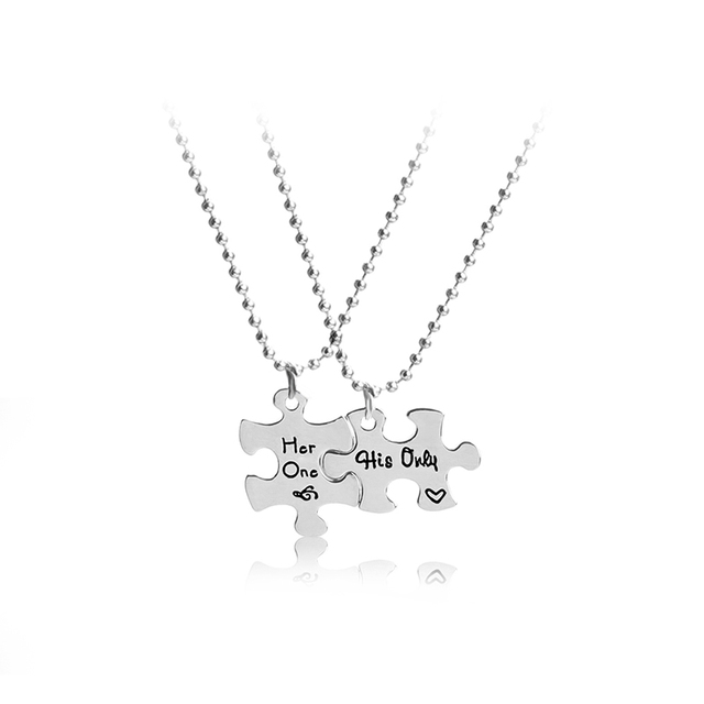a52f1183ec his only her one couple Necklaces pendants Bead chai jewelry Interlocking  Jigsaw Puzzle Necklace for lover