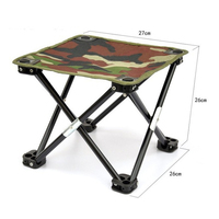 1x Portable Fishing Chair Stool Strong Light Camouflage Canvas Foldable Steel Structure Garden Beach House Sitting