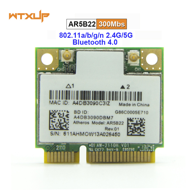 WTXUP Dual band 2.4G/5G עבור Atheros AR5B22 AR9462 300 Mbps Wlan כרטיס חצי מיני PCIE WiFi + BT 4.0 Bluetooth 4.0 מתאם רשת