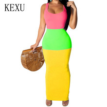 KEXU Summer 3-color Patchwork Bodycon Bandange Dress Sexy Sleeveless Hollow Out Maxi Slim Women Boho Club Casual Sundress