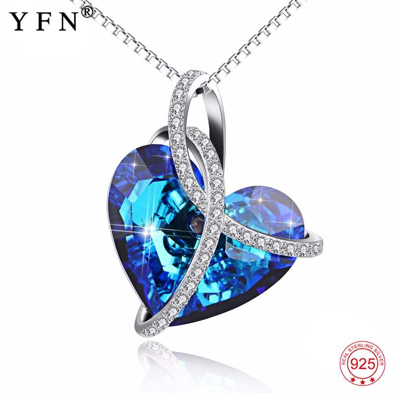 Genuine 925 Sterling Silver Blue Heart of Ocean Necklace Love Heart Romantic Crystal Pendants Necklaces For