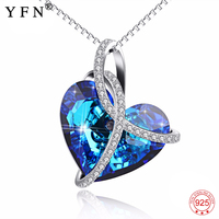 Genuine 925 Sterling Silver Blue Heart of Ocean Necklace Love Heart Romantic Crystal Pendants Necklaces For Women Gifts GNX14003