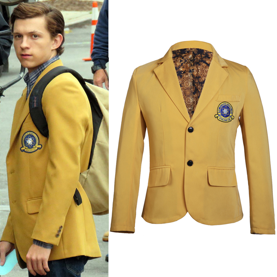 Movie Spider-Man Homecoming Peter Yellow Jacket Adult Halloween Costume Superhero Spiderman Cosplay Costume Blazer Coat Custom