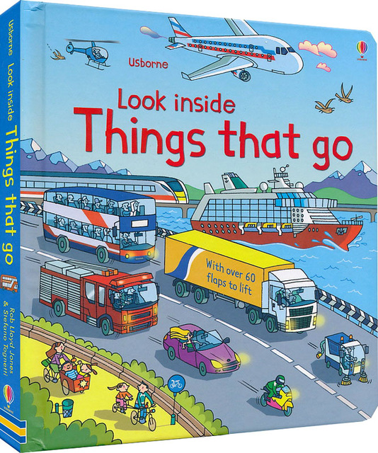 Britain English 3D  Look Inside Things That Go Picture Book Education Kids Child With Over 60 Flaps To Lift Hard Cover