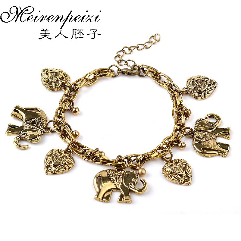 Nuevo Lucky Animal Heart Charm Vintage Bronce Infinity Bracelet Handmade Bangle For Men Women Gift drop shipping pulsera